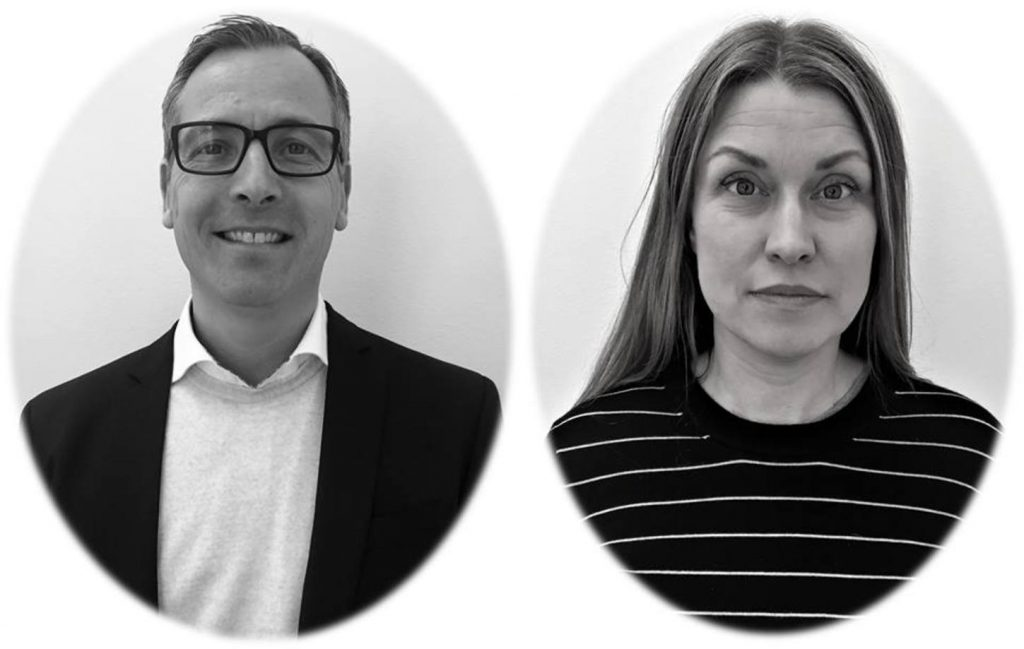 Peter Rydgren and Martina Knuth oval black and white portrait